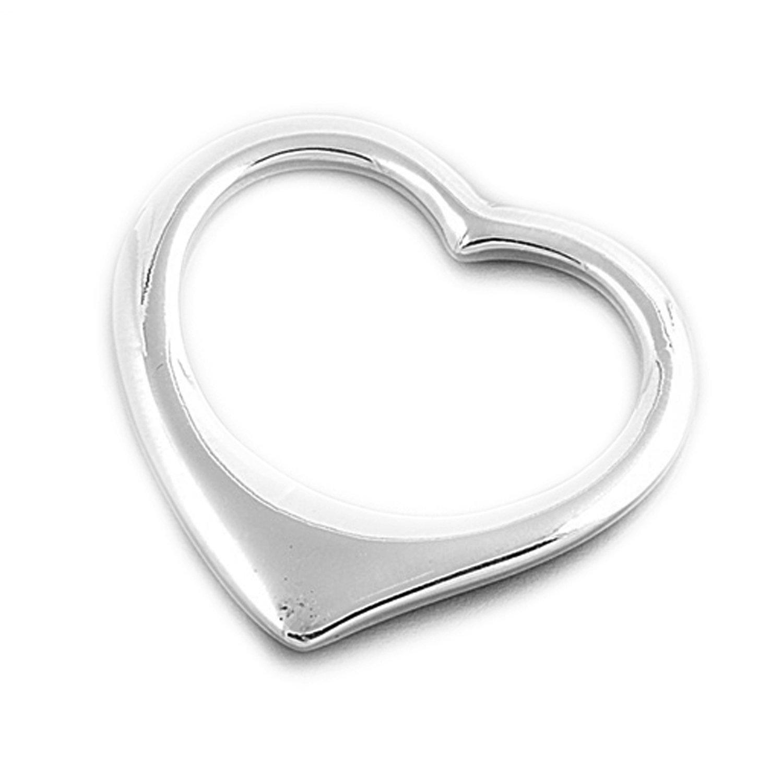 JewelryVolt 925 Sterling Silver Plain open Heart Pendant