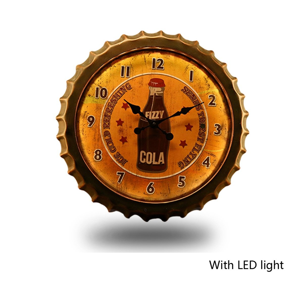 WAZY ウォールクロックアメリカンヴィンテージアイアンクリエイティブビールカバーバーカフェウォールデコレーションペンダントサイレントクロック(1つのパッキングの有無) (色 : A) B07DVCJ5PB A A