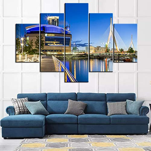 5 Piece Canvas Wall Art Famous Zakim Bridge and The TD Garden Stadium Painting The USA Landmark Sunset Landscape Contemporary Home Decor Bedroom Framed Ready to Hang Poster and Prints 60Wx40H inche