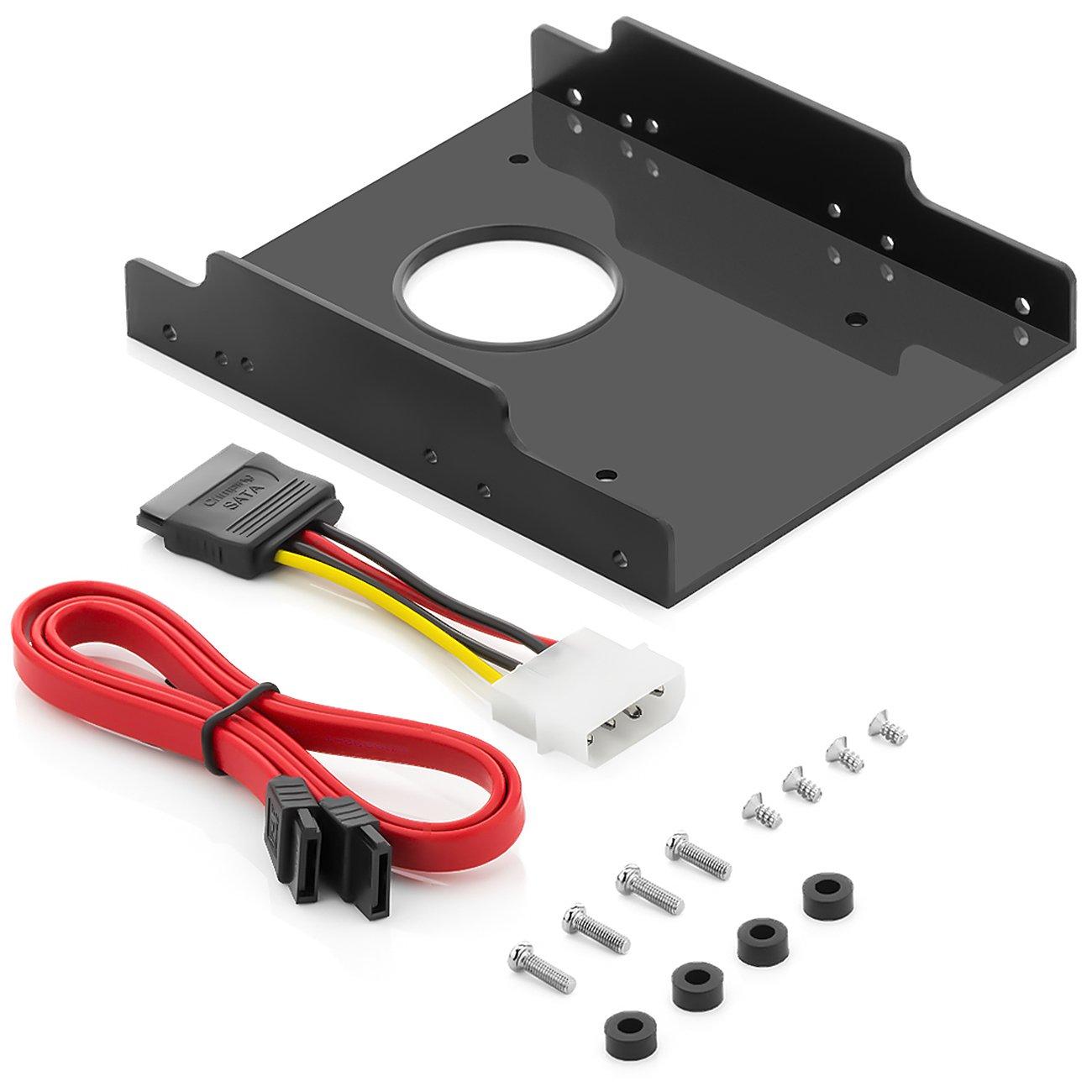 """Marcos de montaje 2.5"""" disco duro SSD de 3.5"""" adaptador disco duro marcos de montaje - plástico duro - soporte de marco intercambiable incluye tornillos SATA y adaptador eléctrico deleyCON MK2205"""