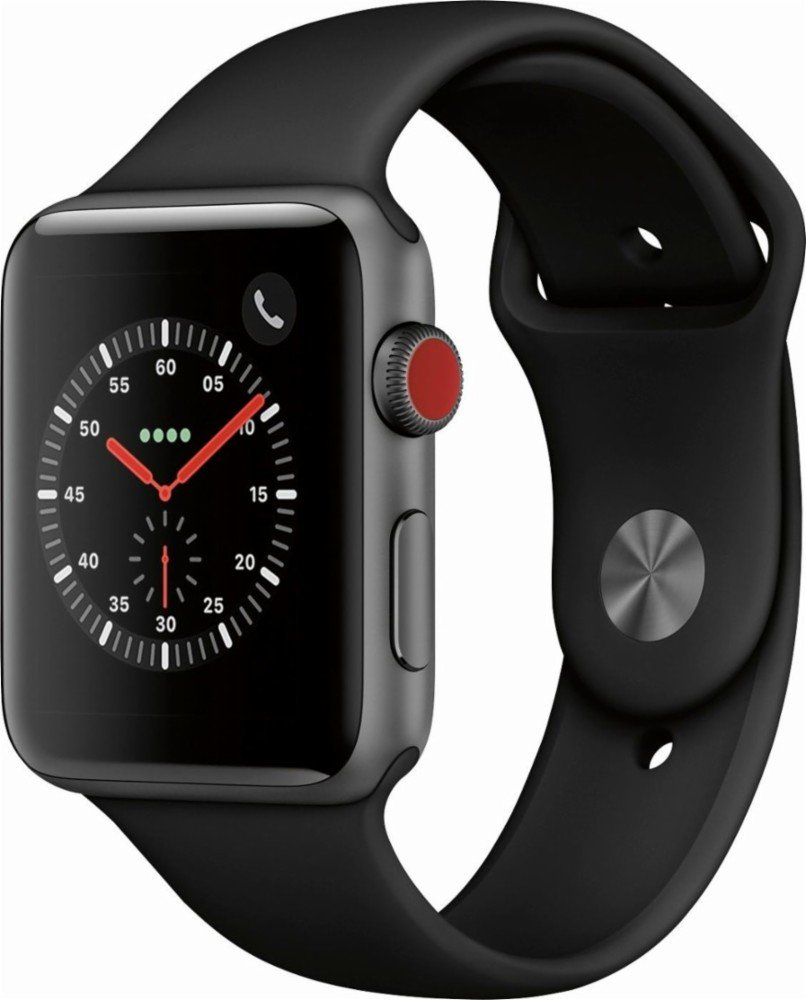 Apple Watch Series 3 (GPS + Cellular), 42mm Space Gray Aluminum Case with Black Sport Band - Grey