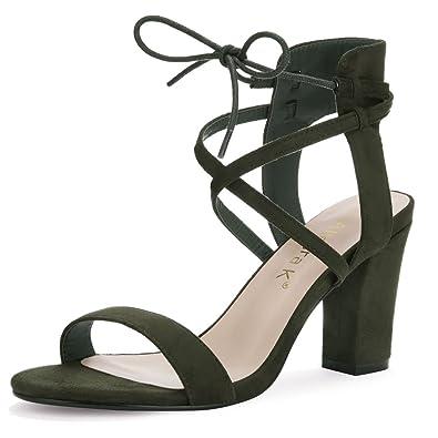 1943a6355d1df Allegra K Women s Open Toe Ankle Tie Heeled Sandal Army Green 2.5 UK Label  Size