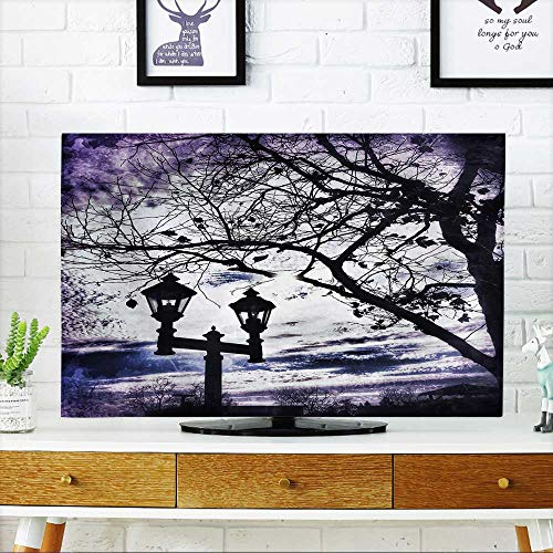52 Wall Mount Lantern - Cover for Wall Mount tv Lamppost with Two Lanterns and Tree Branches Beneath A Purple Winter Sky Cover Mount tv W30 x H50 INCH/TV 52