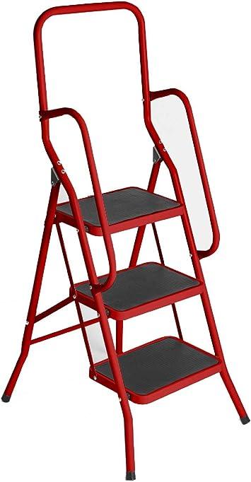 3 paso escalera de seguridad rojo plegable suela antideslizante para barra de cocina plegable Climb: Amazon.es: Bricolaje y herramientas