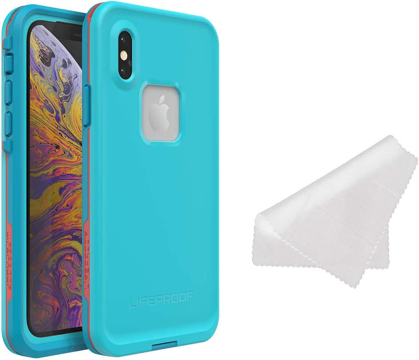 Lifeproof FRĒ Series Waterproof Case for iPhone Xs Max (ONLY) with Cleaning Cloth - Retail Packaging - Boosted (Blue Atoll/Hawaiian Ocean/Emberglow)