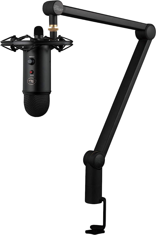 Blue Microphones Yeticaster - Paquete de transmisión profesional con micrófono USB Yeti, Radius III Shockmount y Brazo de brújula, color Negro
