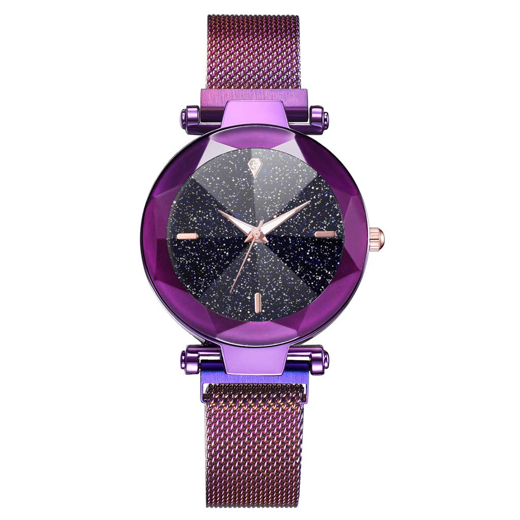 Gibobby Watches for Women Starry Sky Convex Glass Quartz Mesh with Magnetic Buckle Ladies Stainless Steel Wrist Watch