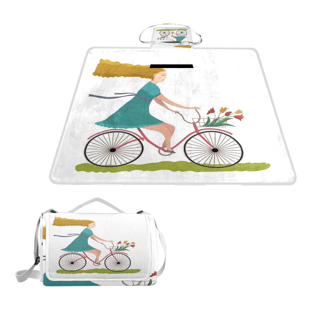 KVMV Young Woman On Bike with Basket of Tulip Flowers Riding The Spring Countryside Picnic Mat Sandproof and Waterproof Outdoor Picnic Blanket for Camping Hiking Beach Grass Travel by KVMV