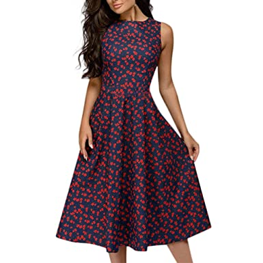 9999336a5d34 Amazon.com  Usstore Women Swing Dress A-line Elegant Vintage Floral Printed  Summer Stylish Sleeveless Party Business Party Slim Gown  Clothing