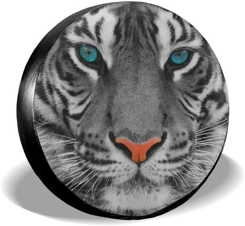 Funny Tiger Print Spare Tire Cover UV Sun Wheel Covers Fit for Jeep,Trailer SUV and Many Vehicle 14 Inch RV