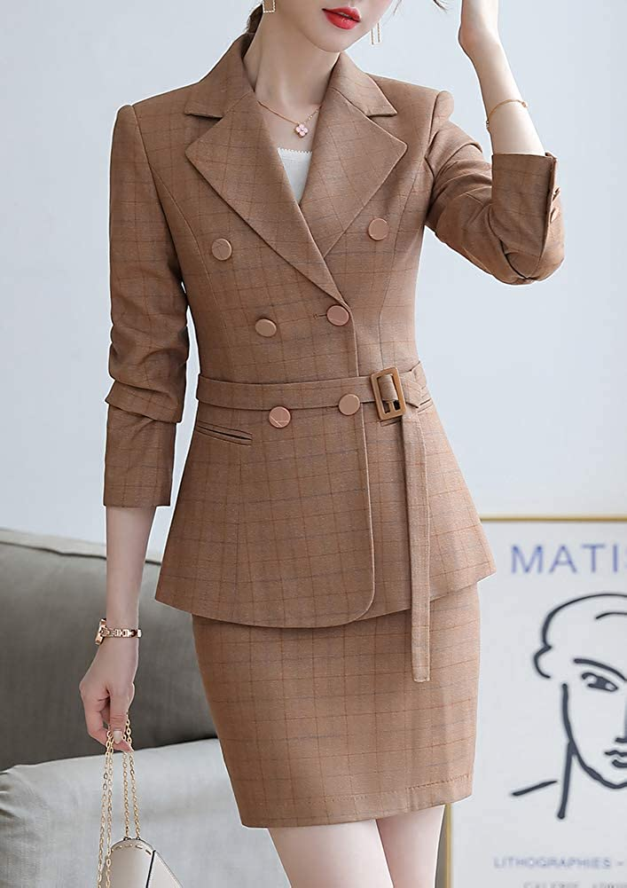 Women/'s Offce Lady Two Piece Plaid Blazer Set Double Breasted with Waistband Work Blazer Jacket Pant//Skirt Suit