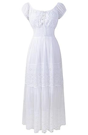 4f9e0606efd1 Renaissance Victorian Medieval Eyelet Off Shoulder Bohemian Lace Up Peasant  Gown Maxi Dress (XL
