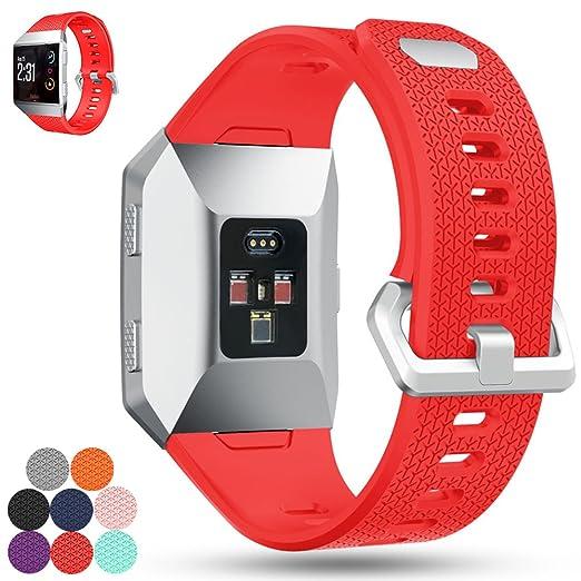 Bracelet de rechange iFeeker pour montre connectée Fitbit Ionic- Bracelet de sport en silicone souple L Red: Amazon.fr: Sports et Loisirs