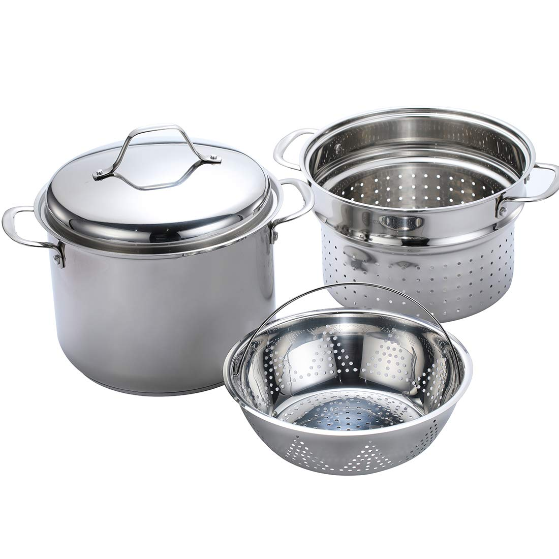 Momscook 8-Quart Classic Stainless Steel Covered Stockpot with Two Layers of Steamer/Pasta Insert, 4-Piece