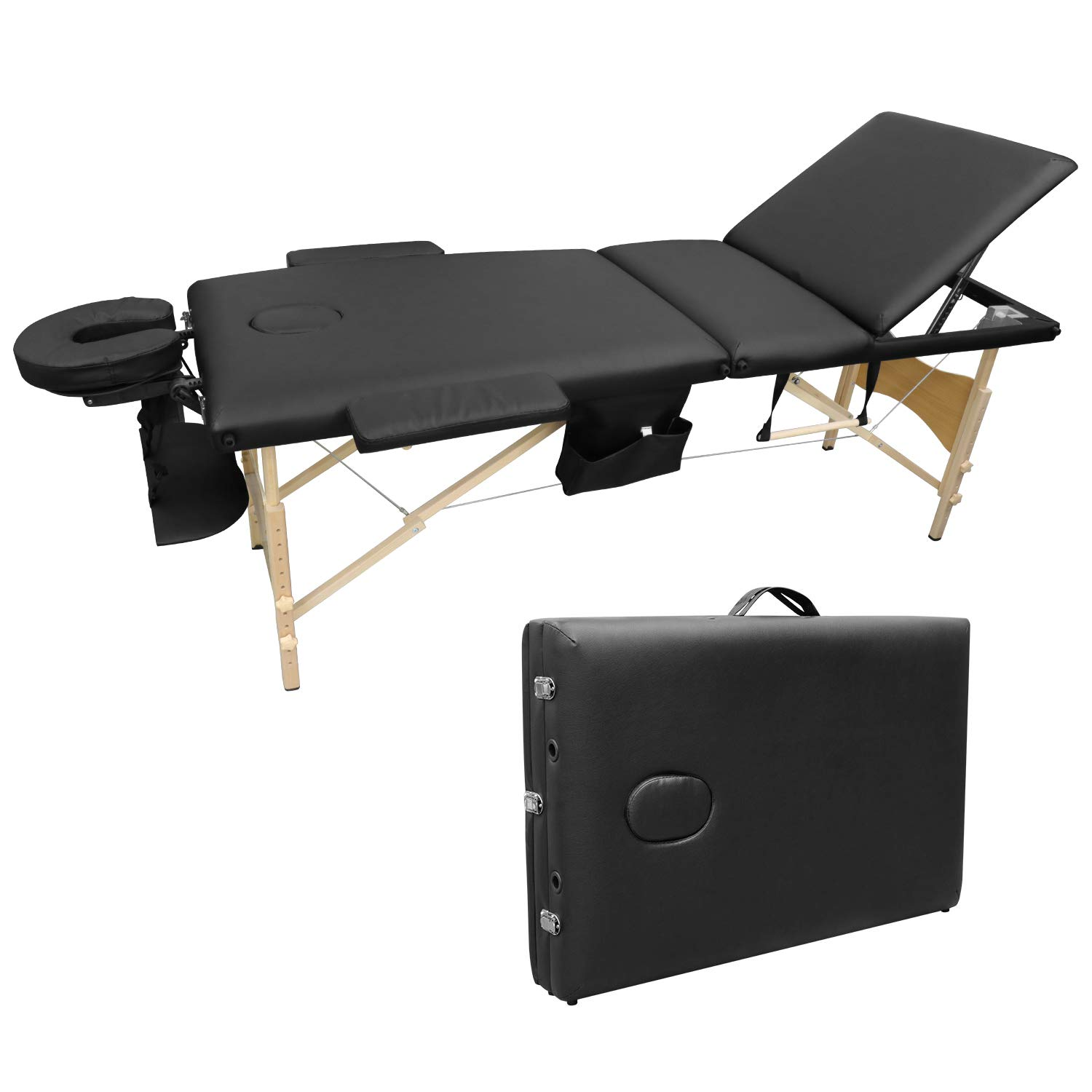 Ootori 3 Folding Massage Table Set Portable Adjustable Professional Massage Bed Facial SPA Tattoo Bed Carry Case W Sheet Cradle Bolsters Hanger,Wide Arms,73inch Black
