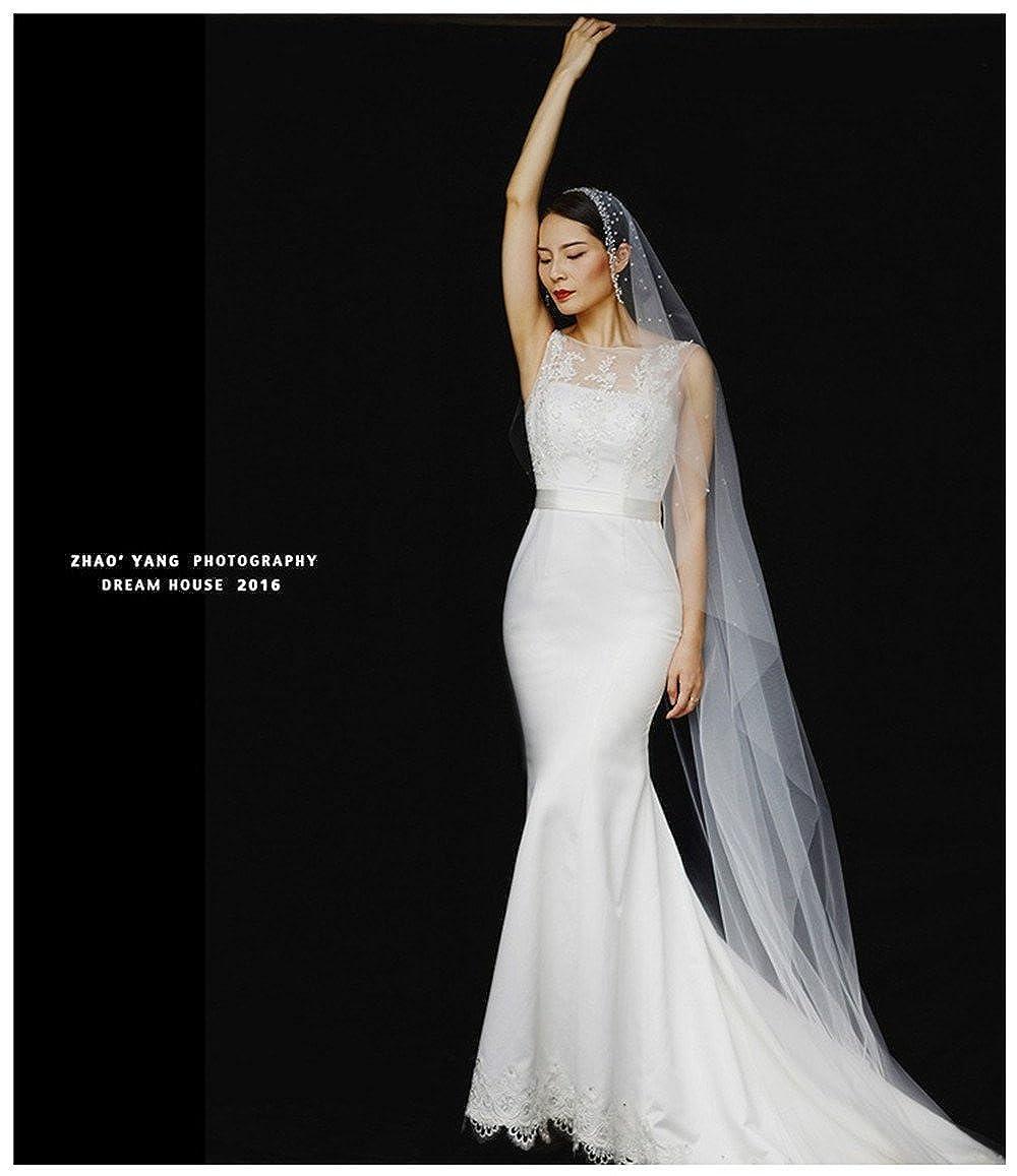Peikang Ladies simple beaded crystal veil bride wedding veil 3 m long