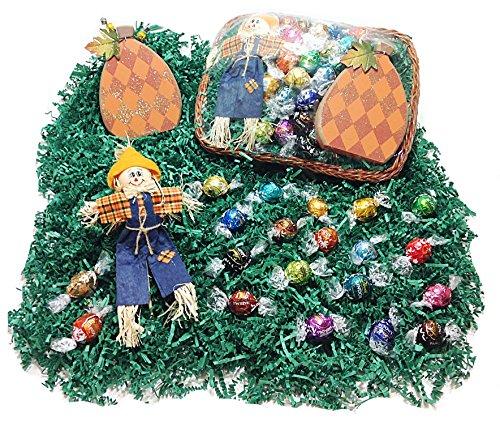 Deluxe Autumn Halloween Gift Basket - Lindt Lindor Gourmet Chocolate Truffles, Scarecrow & Wood Pumpkin