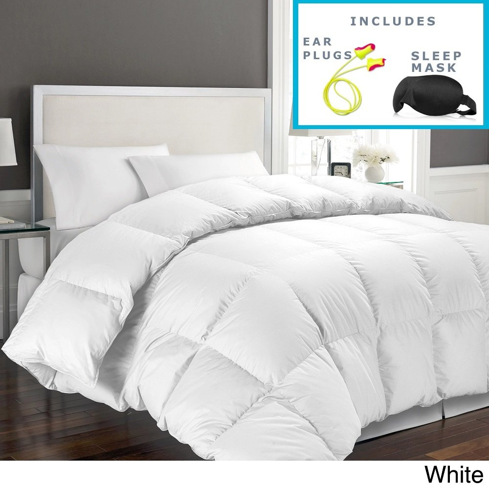 Hotel Grand 1000 Thread Count Egyptian Cotton Full/Queen Down Alternative Comforter with Sleep Mask and Pair of Corded Earplugs, White