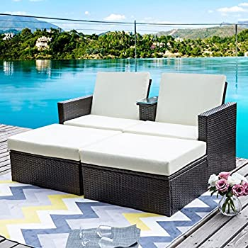 Amazoncom Outdoor Patio Wicker Furniture Pool Lounge All Weather