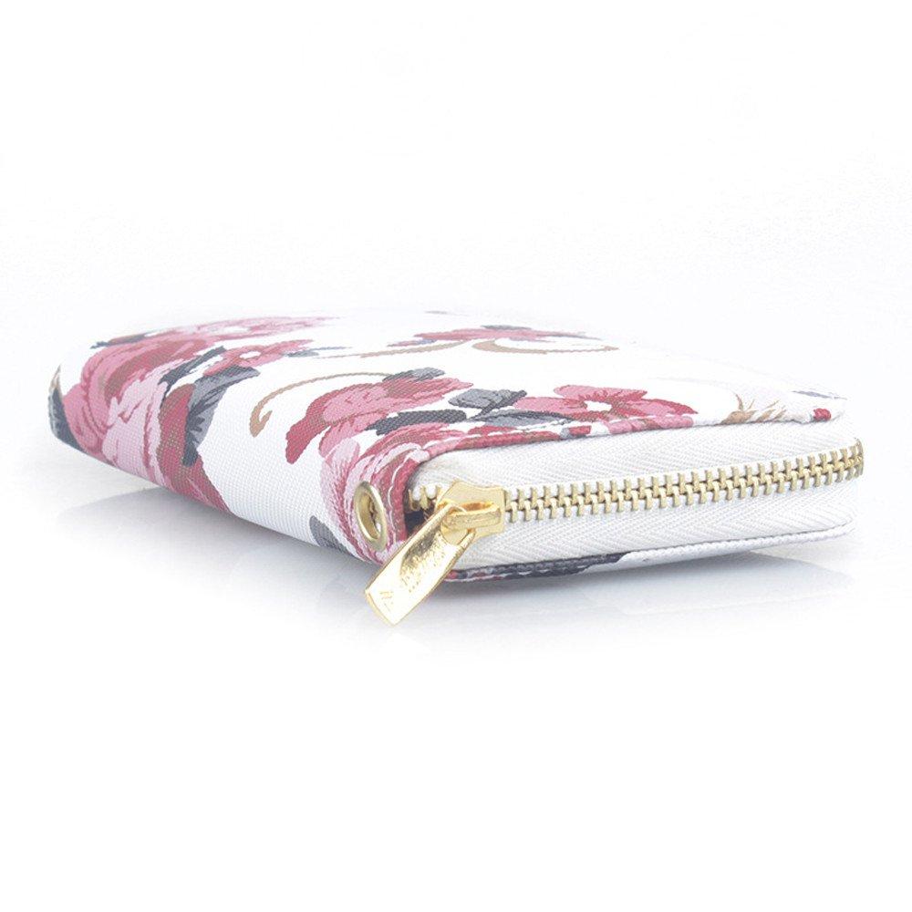 MaxFox Women Fashion Single Pull Rose Long Wallet Zipper Coin Purse Phone Bag Divider Organizer Storage Clutches (A) by MaxFox (Image #5)