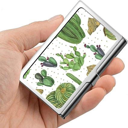 Encantador verde Acuarela Oasis Cactus Damas Estuche para tarjetas de presentación Estuches para tarjetas de presentación Profesional Metal 3.81x 2.7 X 0.29 Pulgadas Estuche para tarjetas de presenta: Amazon.es: Oficina y papelería
