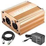 Neewer 1-Channel 48V Phantom Power Supply with Adapter and XLR Audio Cable for Any Condenser Microphone Music Recording Equipment (Gold)