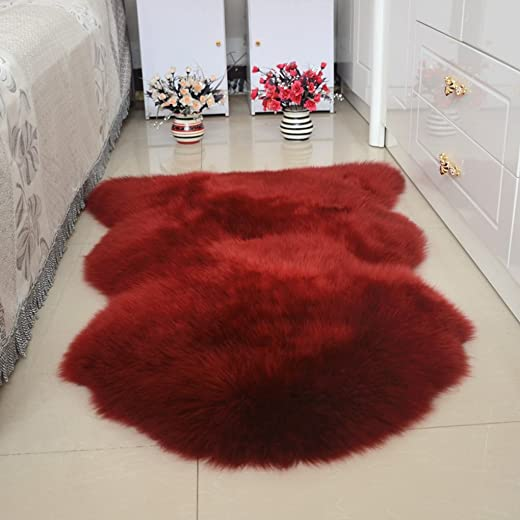 ZZKPTS Faux Fur Sheepskin Area Rug Chair Couch Cover Sofa Seat Pad Plain Shaggy Floor Area Rugs Soft Carpet Mat, 2ft x 6ft Burgundy