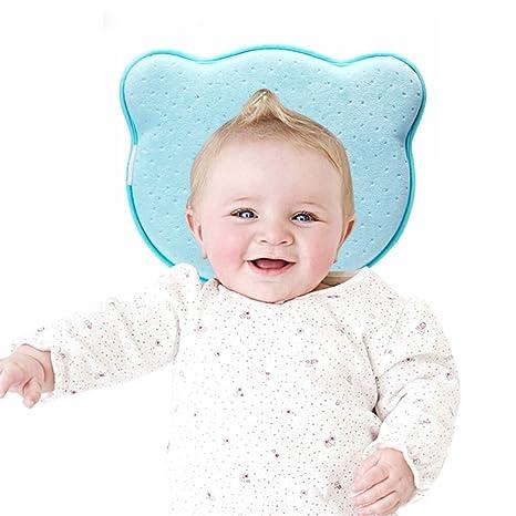 Almohada YOOFOSS Almohada ergonómica para bebés Forma de cojín anti cabeza plana Almohada suave para la cabeza para bebés Bebés recién nacidos (Espuma ...