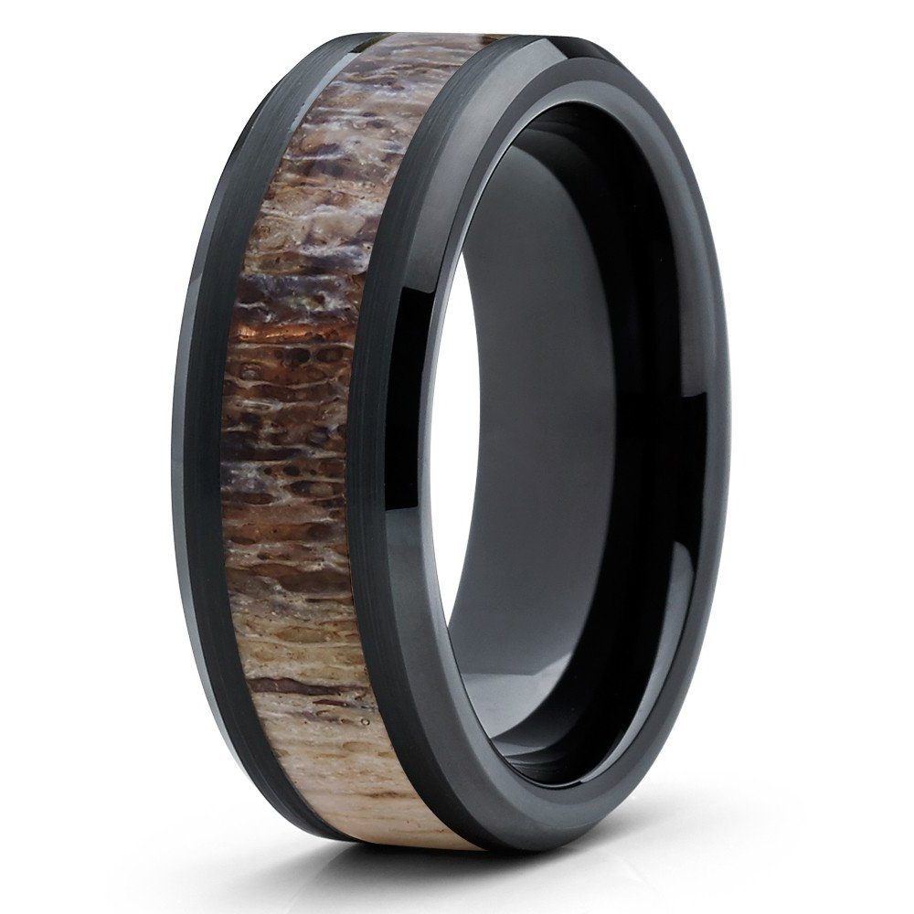 Silly Kings 8mm Black Tungsten Carbide Wedding Band Deer Antler Ring Design Comfort Fit