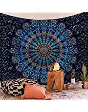 SHINE-CO LIGHTING Bohemia Tapestry Mandala Polyester Tapestries Trippy Wall Hanging Decor for Living Room Bedroom Dorm 51 x 60 Inches (Blue Green Mandala)