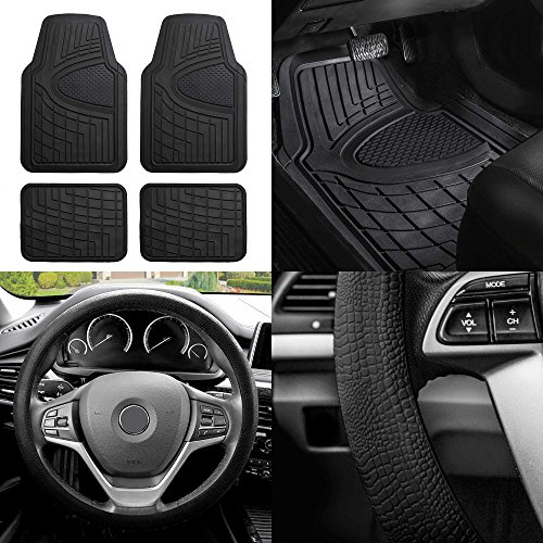 FH GROUP FH-F11311 Premium Tall Channel Rubber Floor Mats w. FH3001 Snake Pattern Silicone steering wheel cover, Solid Black - Stratus Rubber Dodge 1999