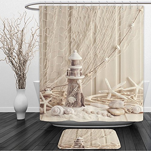 IMEI Seashell Conch Starfish Beige Shower Curtain, Fabric Mildew Resistant Waterproof Sandy Beach 3D Print Bath Curtain Liner Bathroom Decor (60X72 Inch, Fishing Nets Nautical Lighthouse) -