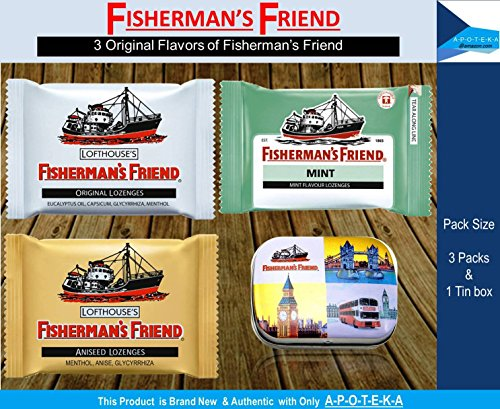 Asthma Cough Suppressant (Fisherman's Friend (Pack of 3 Flavors Original + Aniseed + Mint with Mini Tin Box) Effective for Extra Strong Cough Suppressant Lozenges and Tin Box to Keep Lozenge and Collectibles Set)