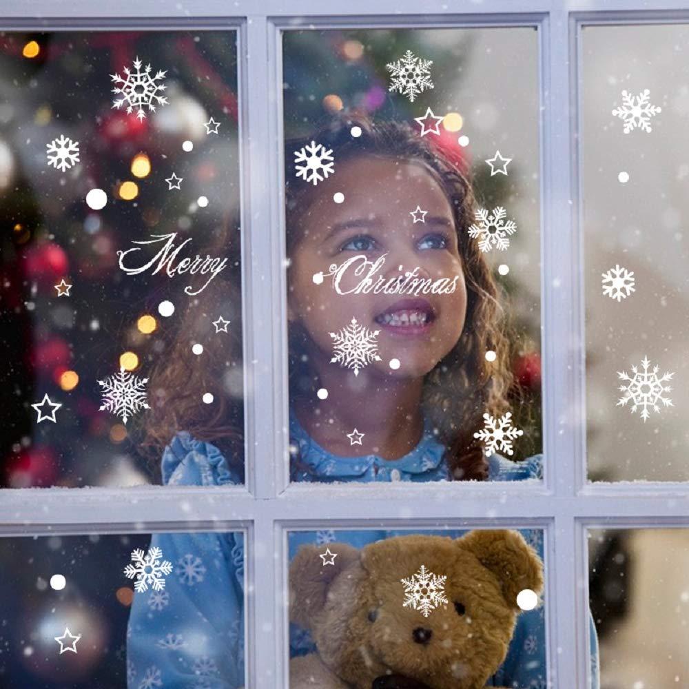 UMIPUBO Pegatinas de Ventana de Navidad 135PCS Pegatinas de Copo de Nieve Fabuloso Pegatinas Pared Est/áticas de PVC para Navidad Decoraciones