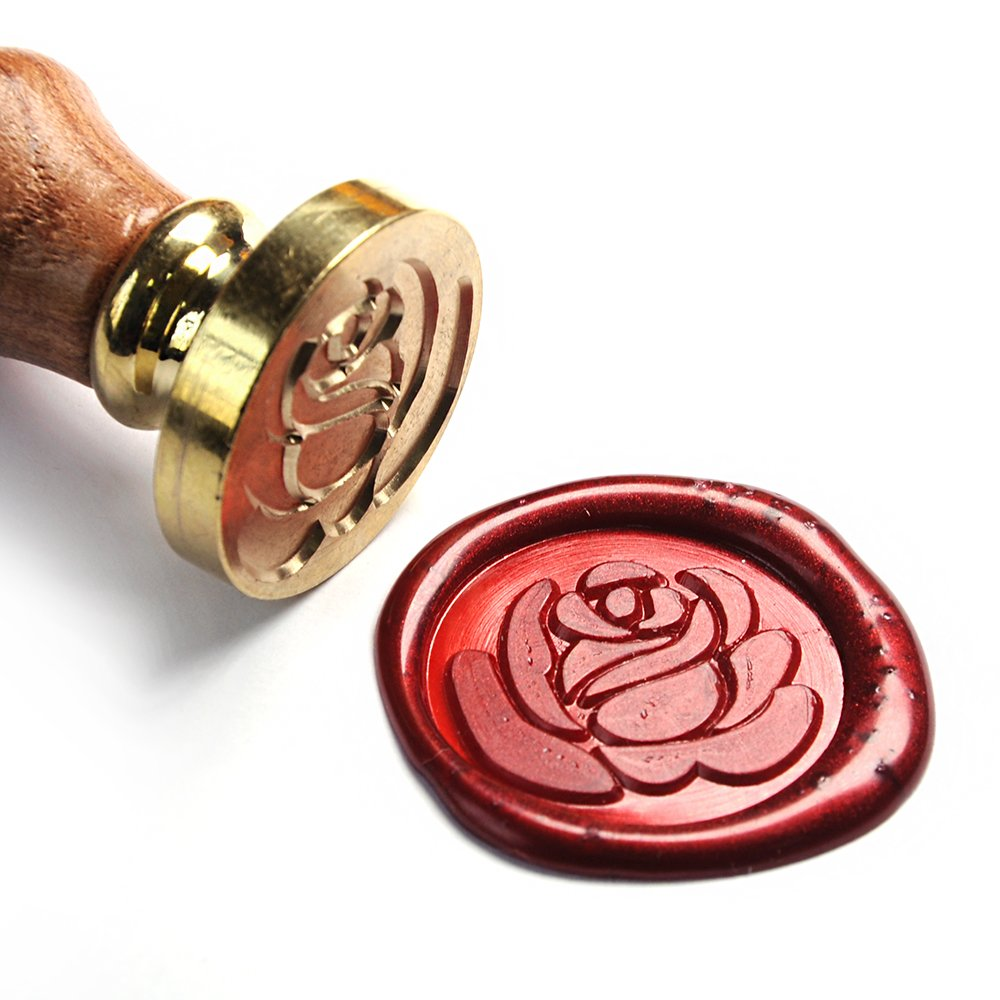 UNIQOOO Art & Crafts Romance Love Rose Wax Seal Stamp, Great for Embellishment of Envelope, Post Card, Snail Mail, Invitations, Wine Packages, Gift Decoration, etc-Gift Idea for Artistic Types