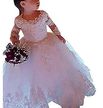 ae0a0580cfa Amazon.com: gsunmmw Lace Long Sleeve Ball Gown First Communion Dress ...