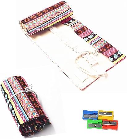 Estuche para lápices Raylinedo® de tela enrollable con 36 orificios para lápices, color rosa, estilo bohemio , Rosa, 48 Holes: Amazon.es: Hogar