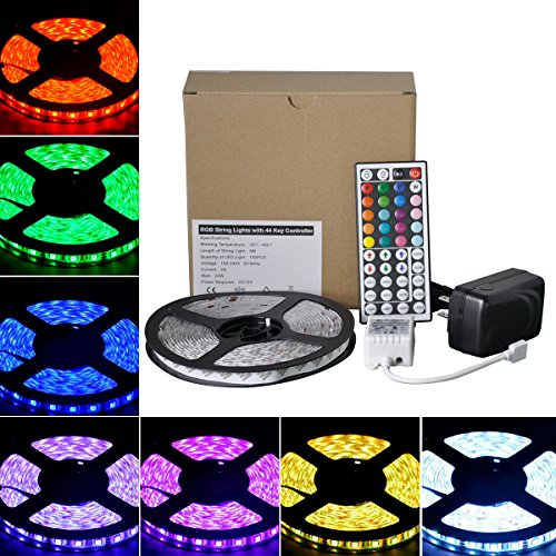 BRTLX RGB 12V LED Strip Lights Kit 5M(16.4Ft) 150 LEDs Waterproof Flexible Rope Lighting with 44key IR Remote Controller for Homes Kitchen Under Cabinet Bar Indoor Or Outdoor (Above Dining Sets)