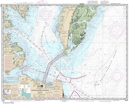 Paradise Cay Publications NOAA Chart 12221: Chesapeake Bay Entrance 35.5 x 44.8 (TRADITIONAL PAPER)