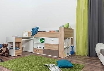 Kinderbett / Hochbett Mit Bettkasten U0026 Schreibtisch U0026quot;Lianu0026quot;,  Hellbraun / Weiß /