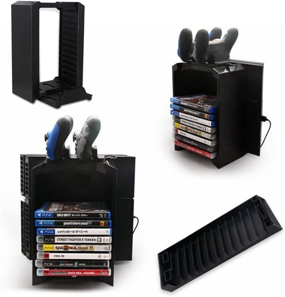 PS4 Storage Tower Holder Stand & Dual Charger Dock, Multifunctional Detachable PlayStation 4 Console Vertical Stand & CD Game Disk Holder: Amazon.es: Videojuegos