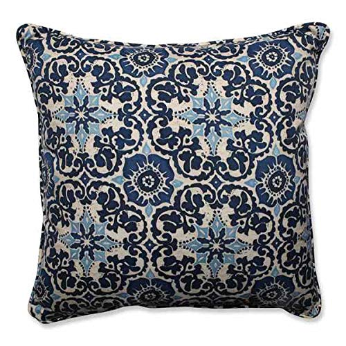 Classic Outdoor/Indoor Prism Blue Square Floor Pillow Woodblock Light Navy Soft Cream Beige Flower Pattern Rich Fabric White Starburst Damask Plush Sturdy Colorful Throw Accent Decor Modern Polyester - Black Cream Square