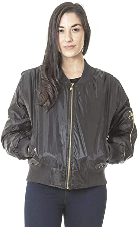 New Ladies Quilted Bomber Jacket Womens Navy MA1 Classic Style Biker Winter Coat