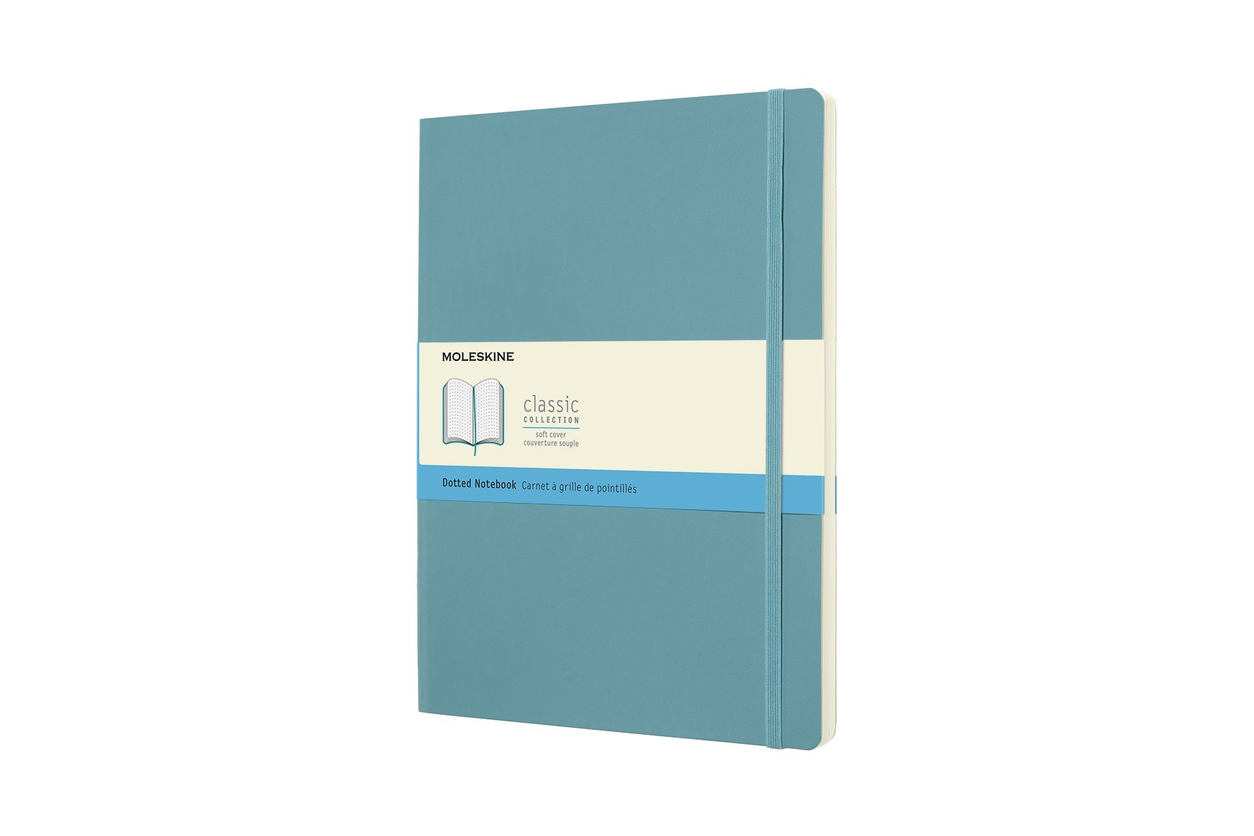 Moleskine Classic Notebook, Soft Cover, XL (7.5'' x 9.5'') Dotted, Reef Blue