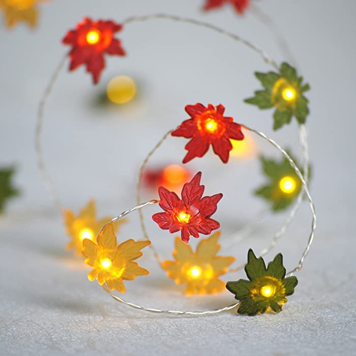 Impress Life Christmas Decor String Lights, 10ft 40LED Maple Leaf Fairy Light Silver Wire Battery Operated with Remote for Thanksgiving Harvest Festival, Seasonal Porch Bedroom Garlands Centerpiece