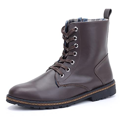 Mens Solid Martin Ankle Booties Lace Up Combat Boots Side Zip Winter Shoe C-88