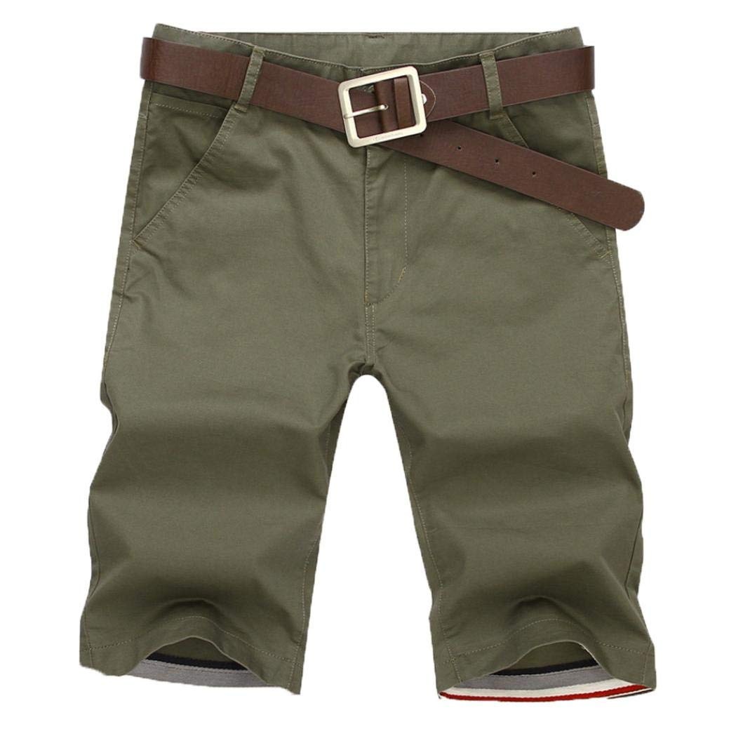 P/&E Boy Summer Pure Color Elastic Waist Casual Pockets Shorts