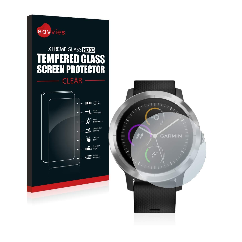 savvies Cristal Templado Compatible con Garmin Vivoactive 3 / Forerunner 45 / Approach S40 Protector Pantalla Vidrio Proteccion 9H Pelicula