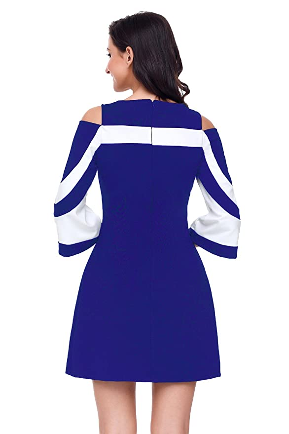 Ladies Royal azul y blanco bell Funda fría hombro vestido Club Wear vestido de fiesta tamaño UK 10 - 12 EU 38 - 40: Amazon.es: Bricolaje y herramientas