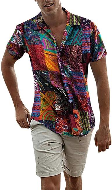 Hombre Camisas de Algodón y Lino de Manga Corta Básico Camisetas Estampado Bohemio Vintage Casual Camisa de Botones Hawaiana Solapa Suelta Transpirable Blusa Tallas Grandes Top de Playa Gusspower: Amazon.es: Ropa y